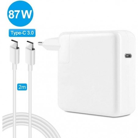 Chargeur MACBOOK 87W Type-C Blanc