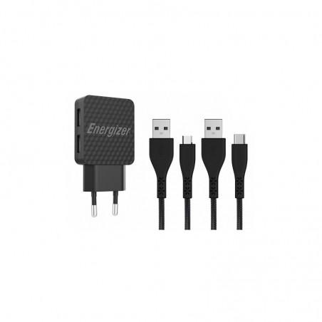 Chargeur secteur Energizer 2.4A 2 Port USB + Câble Type C + Cable Micro-Usb