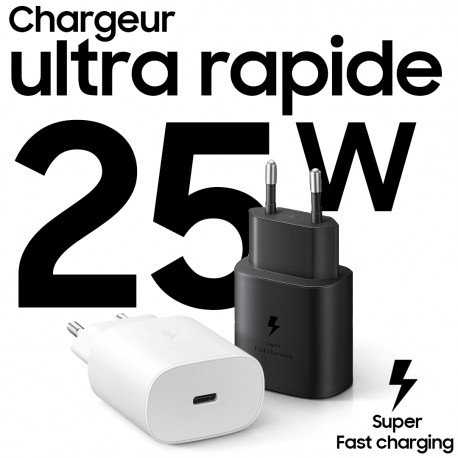 chargeur samsung ultra rapide 25W ClickSolution.Tn