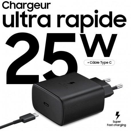 Chargeur Samsung ultra rapide 25W (avec câble) ClickSolution.Tn